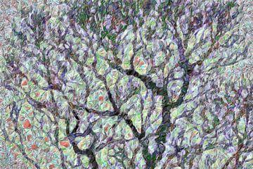 Trees in a field with poppies van Anna Marie de Klerk