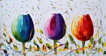 Tulips van Gena Theheartofart