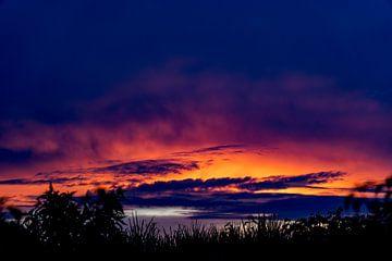 Zonsondergang over de Amazone bij Iquitos, Peru van John Ozguc