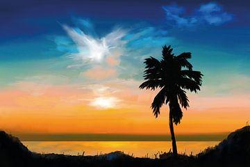Palme bei Sonnenuntergang von Tanja Udelhofen