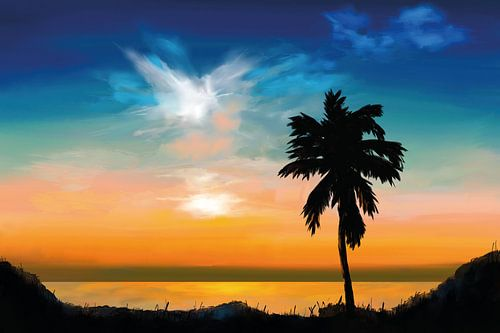Palmboom bij zonsondergang
