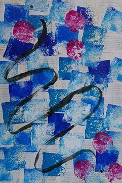 Blaues abstraktes, fröhliches Design. von jolanda verduin
