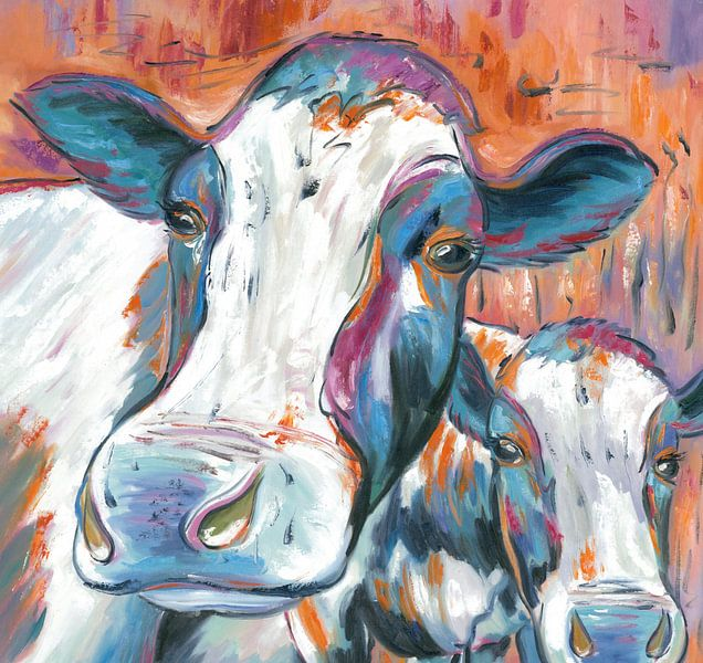 Cow Curious - Koeien Schilderij De Nieuwsgierige Koe - Koeien Kunst Koeienkunst van Kunst Company