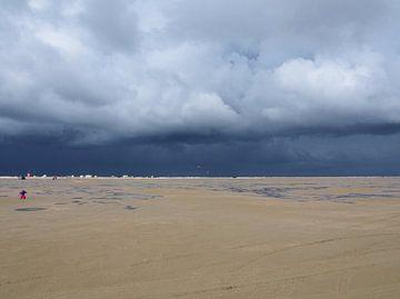 Een strand met storm op komst van Anne de Brouwer
