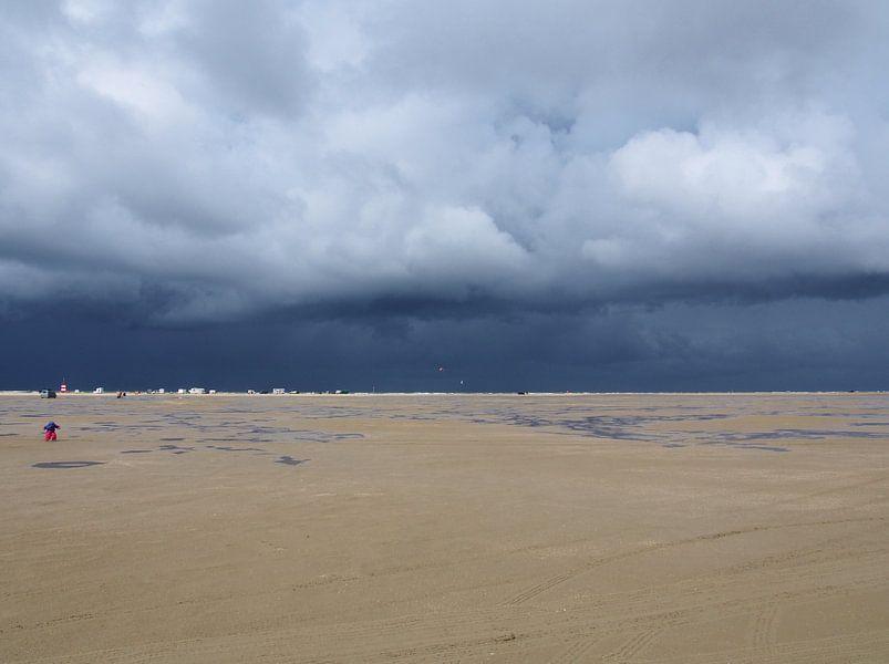 Een strand met storm op komst sur Anne de Brouwer