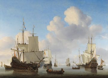 Hollandse schepen op een kalme zee van Hollandse Meesters