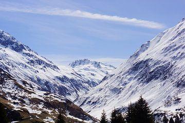 Bergtoppen bedekt met sneeuw in Zwitserland van Malissa Verhoef