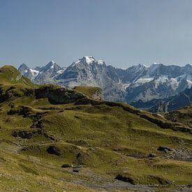 Panoramablik op Eiger, Monch en Junfrau vanuit het Kiental. van Sean Vos