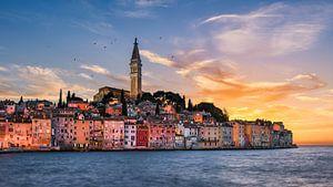 Zonsondergang in Rovinj, Kroatië van Michael Abid