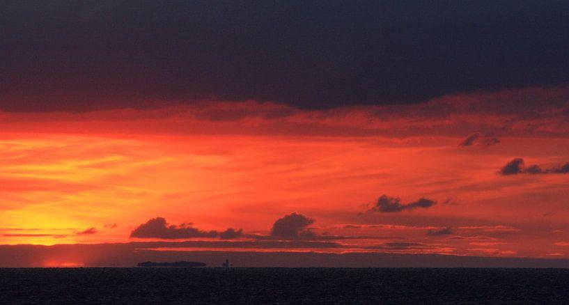 Sunset at Kattegat van Hielke Roelevink