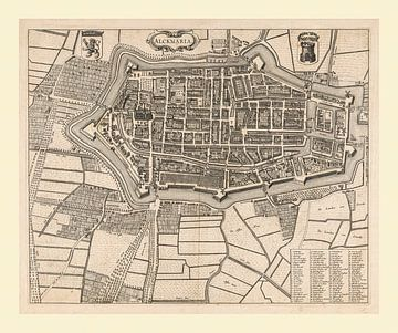 Carte d'Alkmaar avec bordure lumineuse, anno ca 1690 sur Gert Hilbink