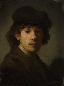 Rembrandt (1606-1669) als een jonge man, stijl van Rembrandt