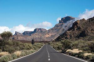 weg naar de el teide vulkaan op tenerife van