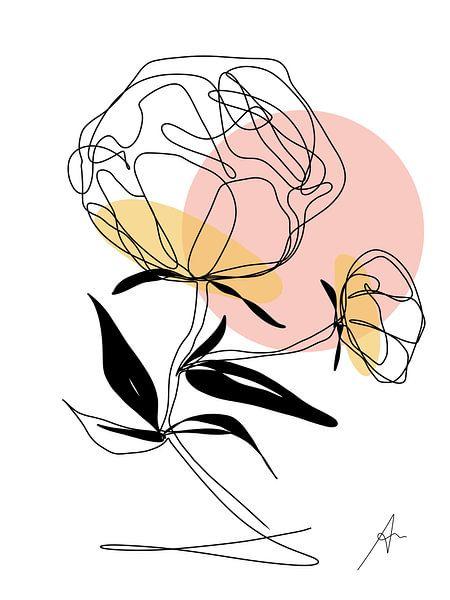 One line drawing mit Farbe Akzenten 'Pfingstrose', von Ankie Kooi