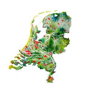 Les Pays-Bas | Carte en aquarelle | Aussi sous forme de cercle mural sur Wereldkaarten.Shop