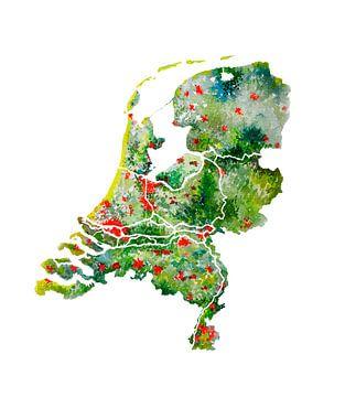 Nederland | Landkaart Aquarel | Ook mooi als wandcirkel van Wereldkaarten.Shop