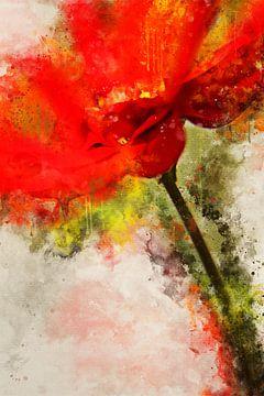 Rode bloem van Sharon Harthoorn