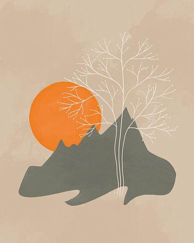 Minimalistisch landschap met bergen, zon en boom