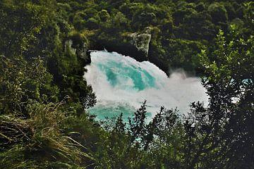 Landschaft - Neuseeland - Taupo - Wasserfall am Waikato-Fluss bei Huka Falls - Gemälde von Schildersatelier van der Ven