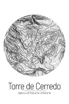 Torre de Cerredo | Topographie de la carte (minimum) sur City Maps