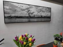 Klantfoto: Antwerpen  Skyline monochroom panorama van Maarten Visser, op canvas