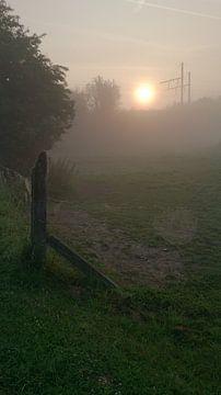 Zonsopgang met mist, langs de spoorweg. Lenteochtend. van