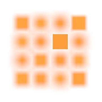 Gefocuste serie vierkanten oranje van Jörg Hausmann