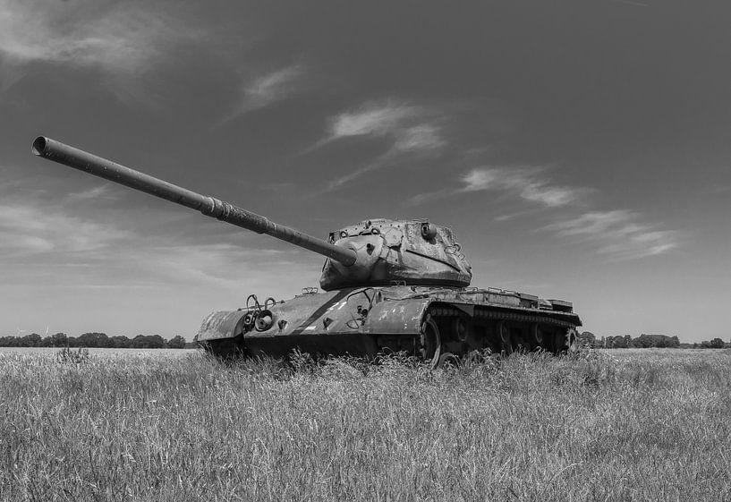 M47 Patton leger tank zwart wit 2 van Martin Albers Photography