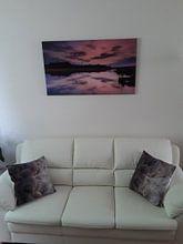 Klantfoto: Zonsondergang bij een ven in Drenthe. van Yvon van der Laan, op canvas