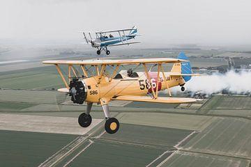 Boeing Stearman and Tiger Moth in formatie van Jimmy van Drunen