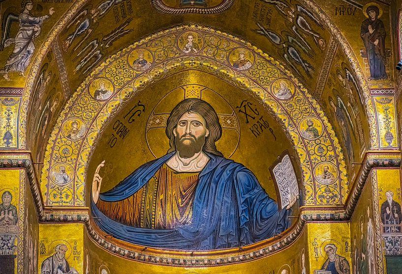 Christus mozaïek in de kathedraal van Monreale, Sicilië van Rietje Bulthuis