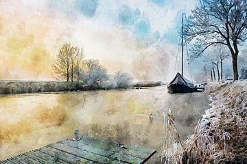 Aquarell einer Winterszene mit altem Segelboot von Peter Bolman