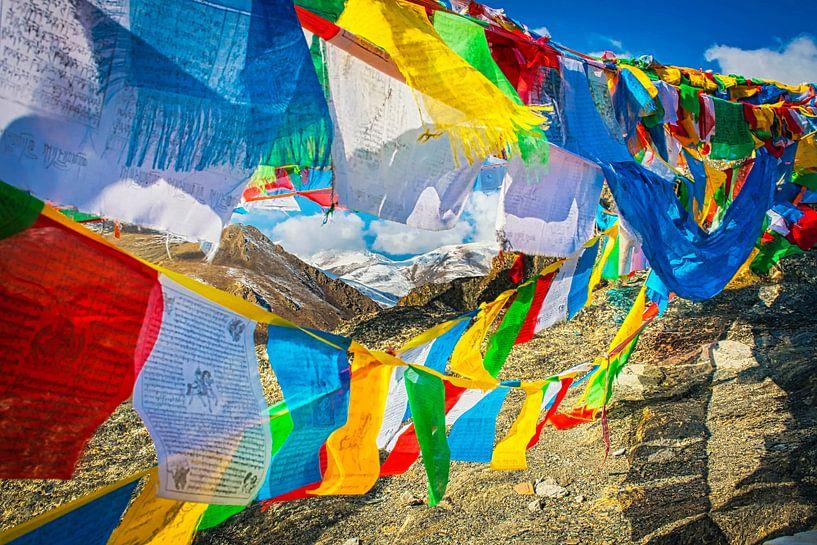 Gebedsvlaggen in de Himalaya, Tibet van Rietje Bulthuis