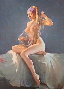 Sexy und farbenfrohes Mädchenportrait mit der Perle von