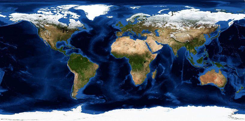Aarde zonder wolken van Space and Earth