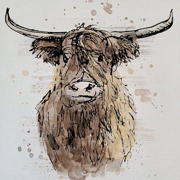 Schottischer Highlander - Aquarellstil von Emiel de Lange