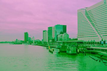Rotterdam - Erasmusbrug en omgeving - in groen-roze tinten von Ineke Duijzer