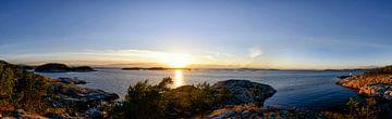 Zonsondergang panorama in Noorwegen van