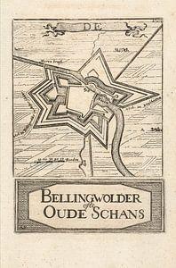 Oude kaart van Bellingwolde of te wel Oude Schans van omstreeks 1743