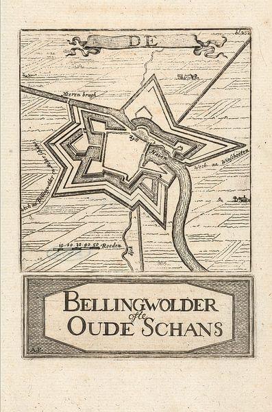 Oude kaart van Bellingwolde of te wel Oude Schans van omstreeks 1743 van Gert Hilbink