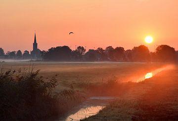 Zonsopkomst in Friesland van Jitske Van der gaast