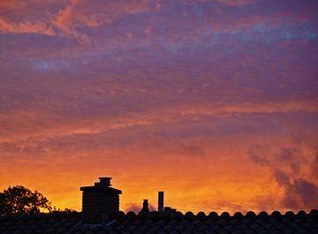 Zonsondergang boven Den Haag van Rinke Velds