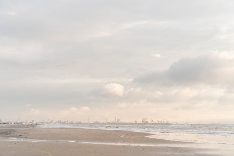 Maasvlakte und Hook of Holland: malerischer Himmel und Surfer bei Sonnenuntergang von Laura-anne Grimbergen