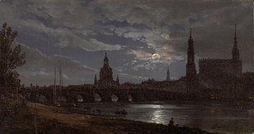 Blick auf Dresden bei Mondschein, Johan Christian Dahl