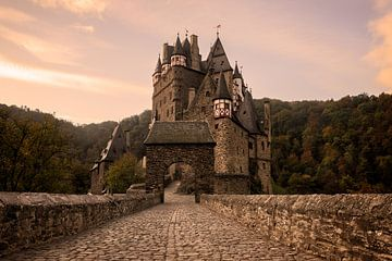 Rue pavée vers le château de Burg Eltz à la lumière du matin sur iPics Photography