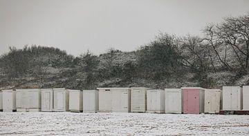 Des maisons de plage dans le froid sur Percy's fotografie