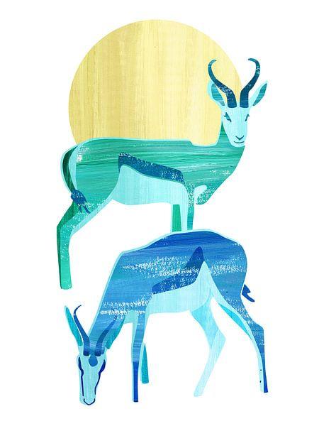 Antilopes in de zon van Goed Blauw