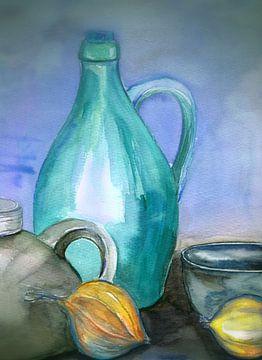 aardewerken kannen met gele uien van Claudia Gründler