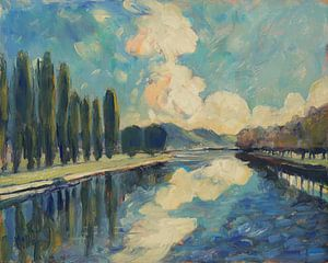La Meuse le long de l'île Robinson à Visé sur Nop Briex