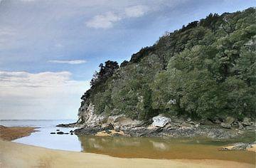 Strand - Nieuw-Zeeland - Abel Tasman - Kust - Stukje Paradijs - Olieverf Schilderij met Etsen
